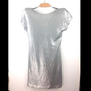 Ted Baker Matte Silver Sequin Shoulder Pad Dress